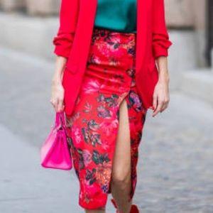 Zara red floral midi skirt NWOT